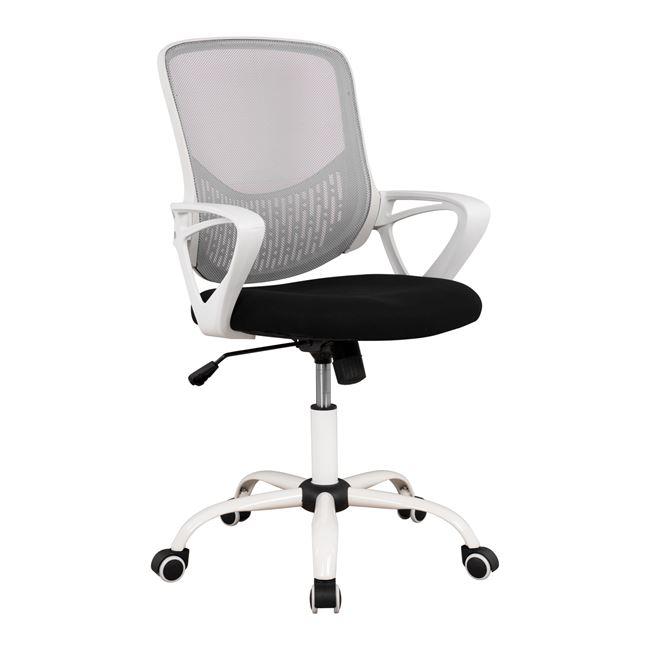 Πολυθρόνα γραφείου υφασμάτινη σε χρώμα γκρι/λευκό 57x54x94