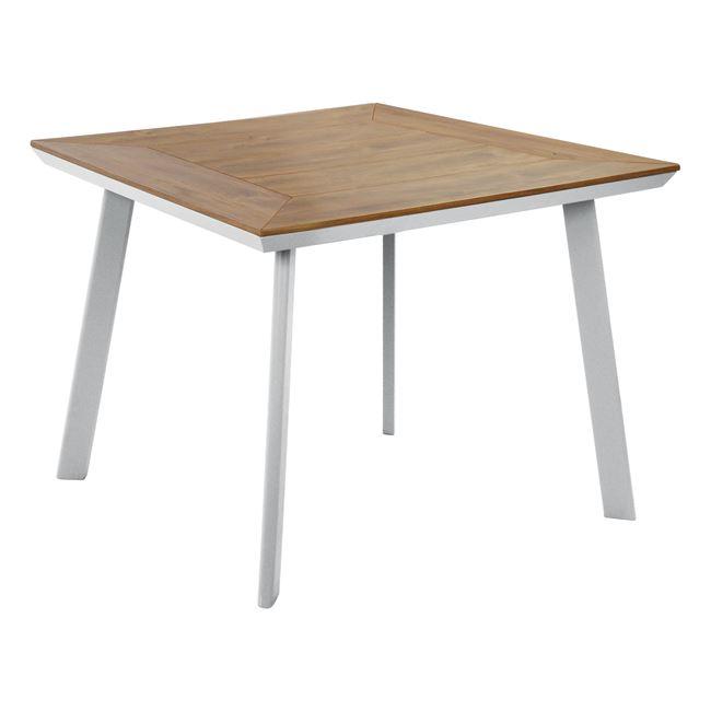 Τραπέζι αλουμίνιου με polywood σε λευκό χρώμα 80x80x72
