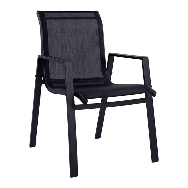 Πολυθρόνα αλουμινίου-pvc σε μαύρο χρώμα 55,5x72x83,5