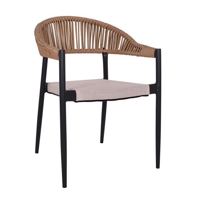 Πολυθρόνα αλουμινίου-wicker σε καφέ-μπεζ χρώμα 56x55x76