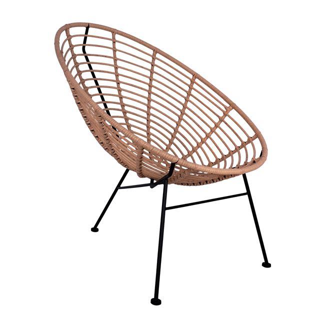 """Πολυθρόνα """"ALLEGRA"""" μεταλλική-wicker σε μαύρο-μπεζ χρώμα 73x83x86"""