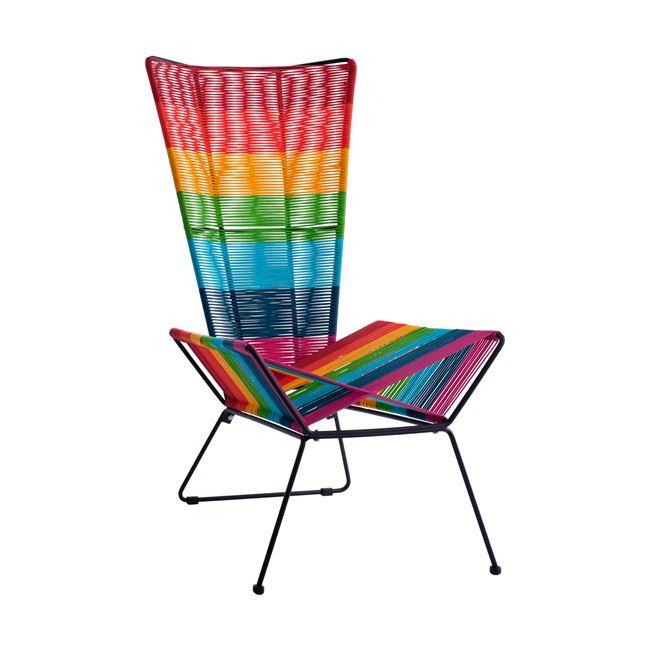Καρέκλα μεταλλική-wicker πολύχρωμη 63,5x85x111