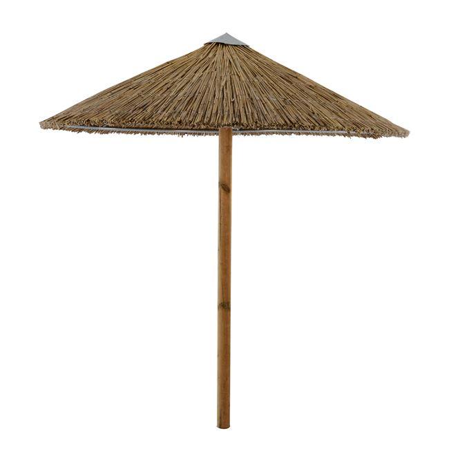 Ομπρέλα ψάθινη με κοντάρι πεύκου σε χρώμα μπεζ Φ210