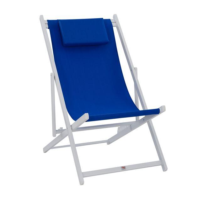 Σεζλονγκ αλουμινίου textilene σε χρώμα λευκό/μπλε 59,5x99x97