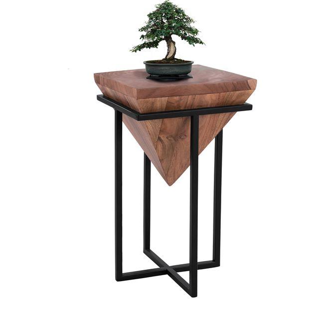 Τραπέζι βοηθητικό ξύλινο σε χρώμα φυσικό/μαύρο 30x30x50