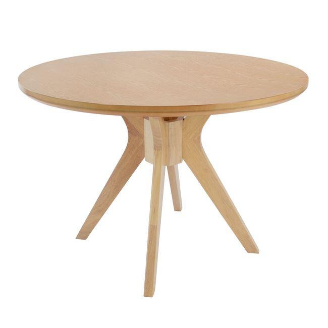 Τραπέζι ροτόντα ξύλινο σε white wash χρώμα Φ110×76