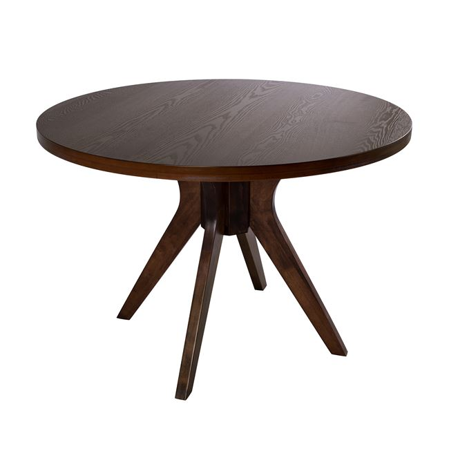 Τραπέζι ροτόντα ξύλινο σε καρυδί χρώμα Φ110×76