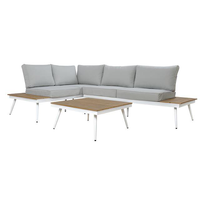 Σετ καναπέ γωνία αλουμινίου σε χρώμα λευκό/γκρι 177,5x243x80