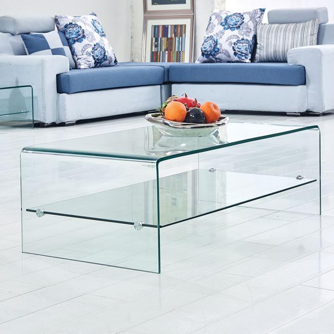 Τραπέζι σαλονιού γυάλινο σε χρώμα διάφανο 110x55x36