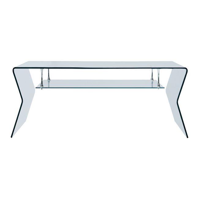 Τραπέζι σαλονιού γυάλινο σε χρώμα διάφανο 120x60x43