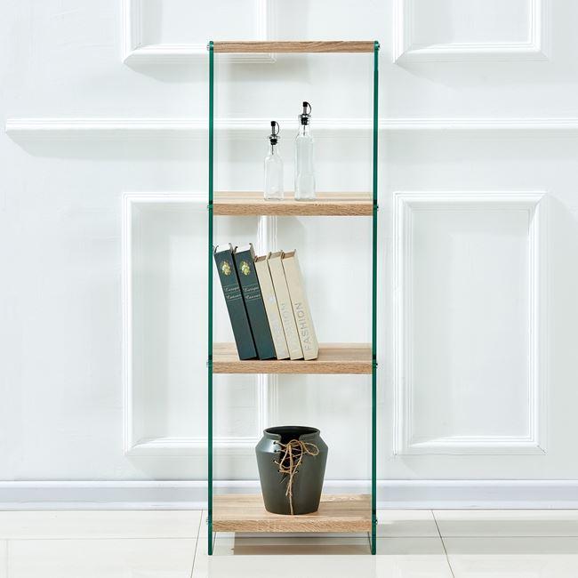 Βιβλιοθήκη γυάλινη/ξύλινη σε χρώμα διάφανο/σονόμα 40x30x125,5