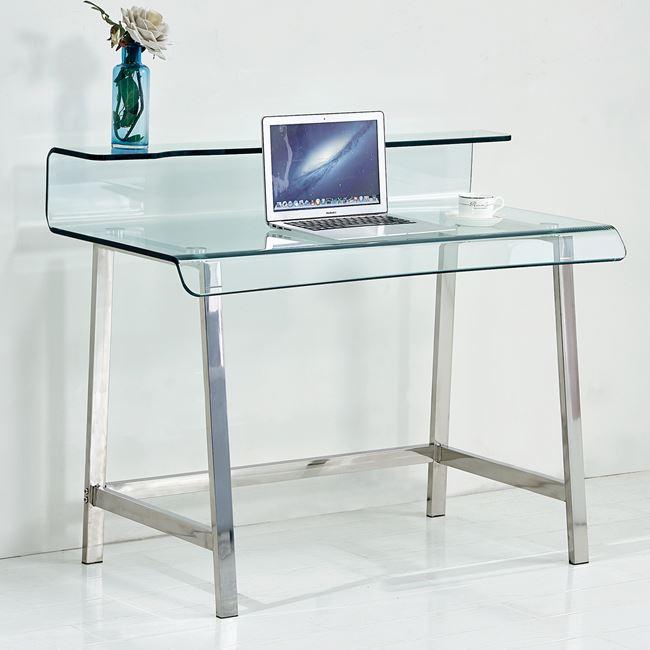 Γραφείο γυάλινο σε χρώμα διάφανο με σκελετό χρωμίου 110x56x90
