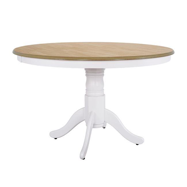 Τραπέζι από ξύλο/mdf σε χρώμα λευκό/φυσικό Φ120×76,5