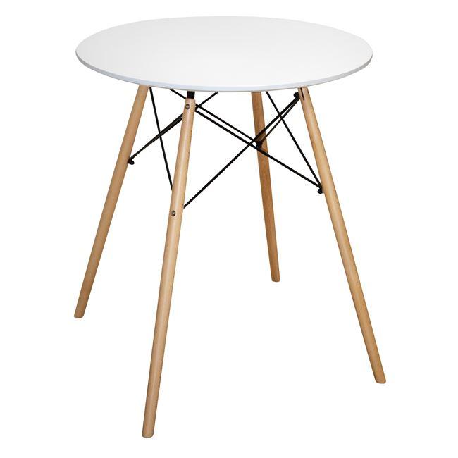 """Τραπέζι """"MINIMAL"""" από ξύλο/mdf σε χρώμα λευκό/φυσικό Φ60×74.5"""