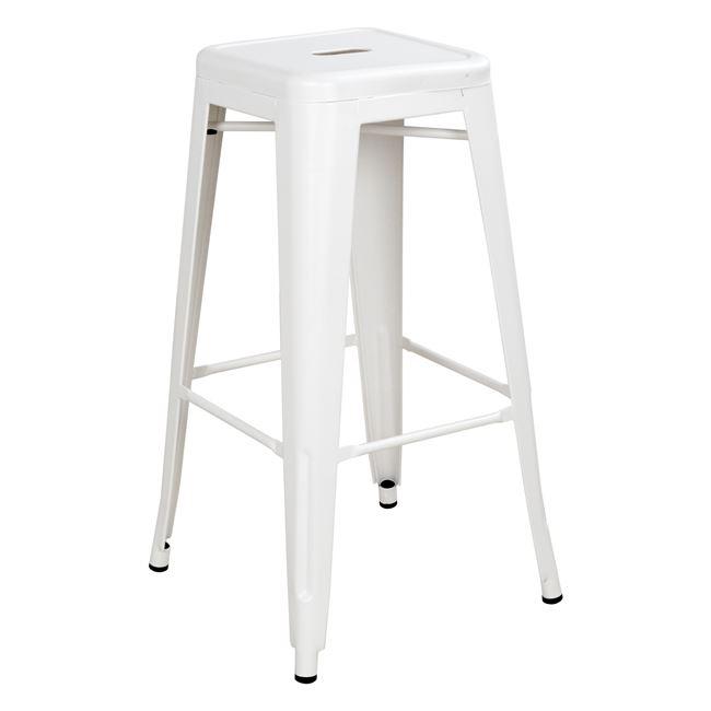 Σκαμπό μπαρ «MELITA» μεταλλικό σε χρώμα λευκό 43x43x76,5