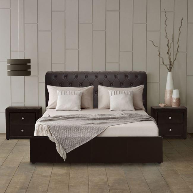 """Κρεβάτι """"CHESTERFIELD"""" PU με αποθηκευτικό χώρο σε χρώμα καφέ 150x200"""