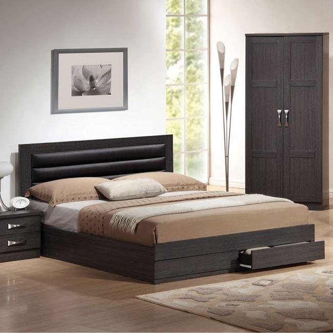 Κρεβάτι διπλό με αποθηκευτικό χώρο σε χρώμα ζεμπράνο 159x206x100