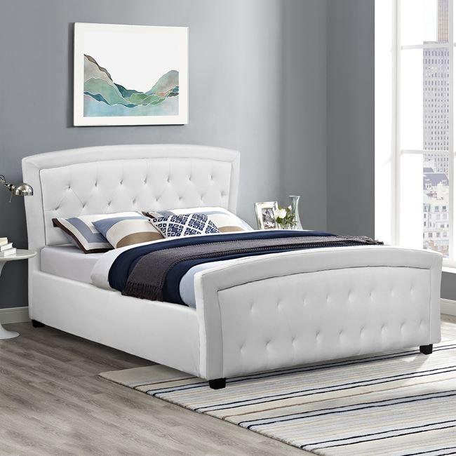 """Κρεβάτι διπλό """"ODELIA"""" από PU σε χρώμα λευκό 174x213x110"""