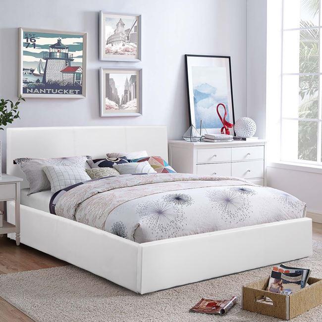 """Κρεβάτι διπλό """"BOBBI"""" από PU σε χρώμα λευκό 157x207x86"""
