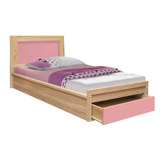 """Κρεβάτι """"PLAYROOM"""" με συρτάρι σε χρώμα σονόμα/ροζ 90x190"""
