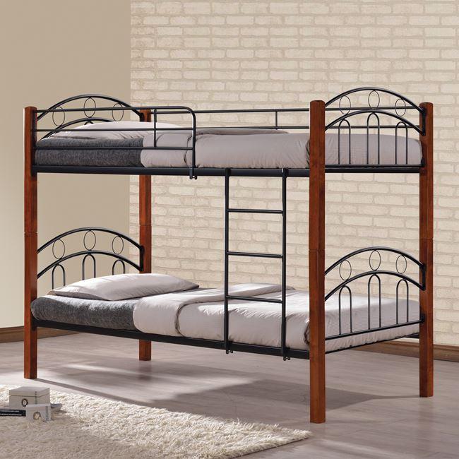 Κουκέτα κρεβάτι μεταλλική/ξύλινη σε χρώμα καφέ/μαύρο 90×190
