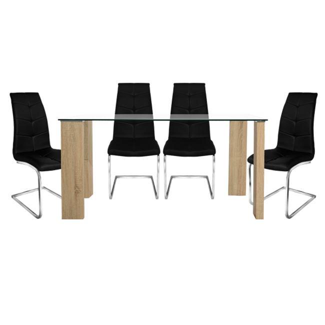 """Σετ τραπεζαρίας """"MORGAN"""" 5τμχ από ξύλο/γυαλί σε χρώμα σονόμα/μαύρο 140x80x75"""
