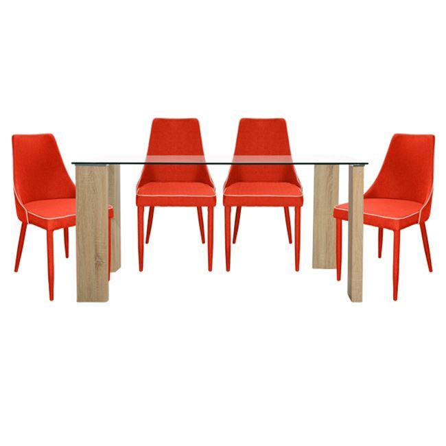 """Σετ τραπεζαρίας """"MORGAN"""" 5τμχ από ξύλο/γυαλί σε χρώμα σονόμα/κόκκινο 140x80x75"""
