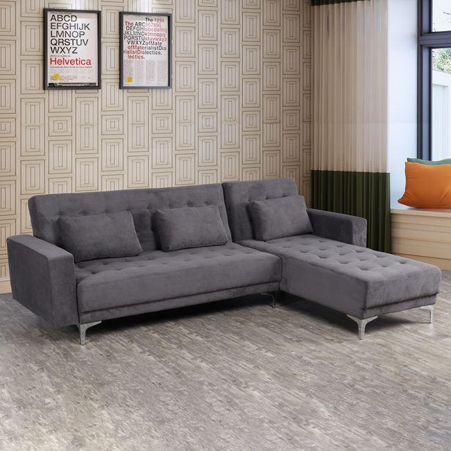 """Καναπές γωνία """"ELIZA"""" από ύφασμα σε χρώμα γκρι 244x190x84"""
