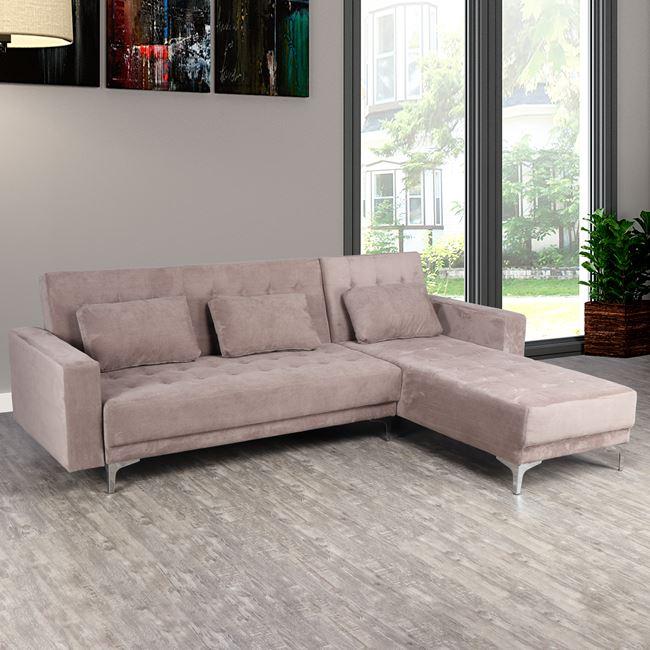 """Καναπές γωνία """"ELIZA"""" από ύφασμα σε χρώμα μπεζ 244x190x84"""