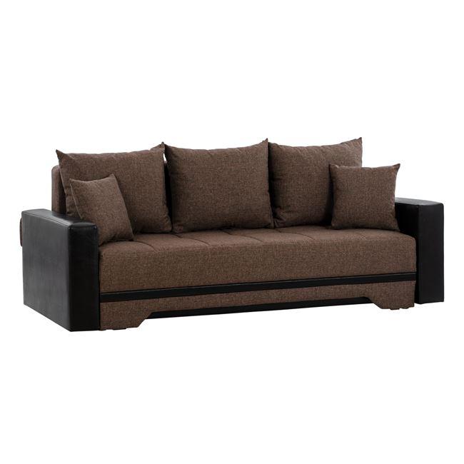 """Καναπές κρεβάτι """"DENIZ"""" από ύφασμα/PU σε χρώμα καφέ/μαύρο 226,5x93x84"""