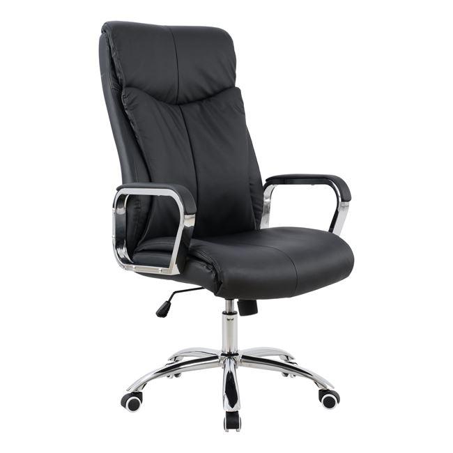 Πολυθρόνα διευθυντή από PU/μέταλλο σε χρώμα μαύρο 63x80x126