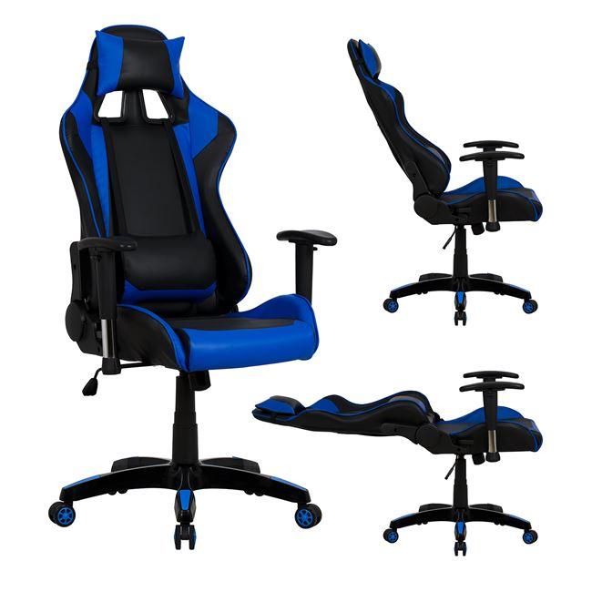 """Πολυθρόνα εργασίας """"GAMING"""" από PU σε χρώμα μαύρο/μπλε 67x70x134"""