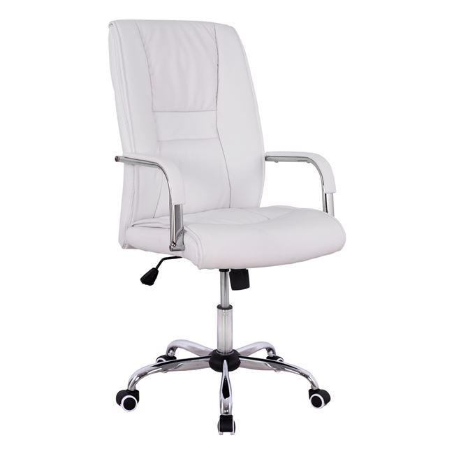 Πολυθρόνα διευθυντή από PU σε χρώμα λευκό 58,5x70x120