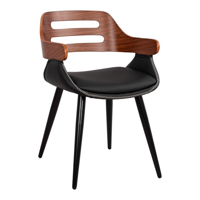 """Πολυθρόνα επισκέπτη """"SUPERIOR PRO"""" από PU/μέταλλο σε χρώμα μαύρο/καρυδί 50x53x76"""