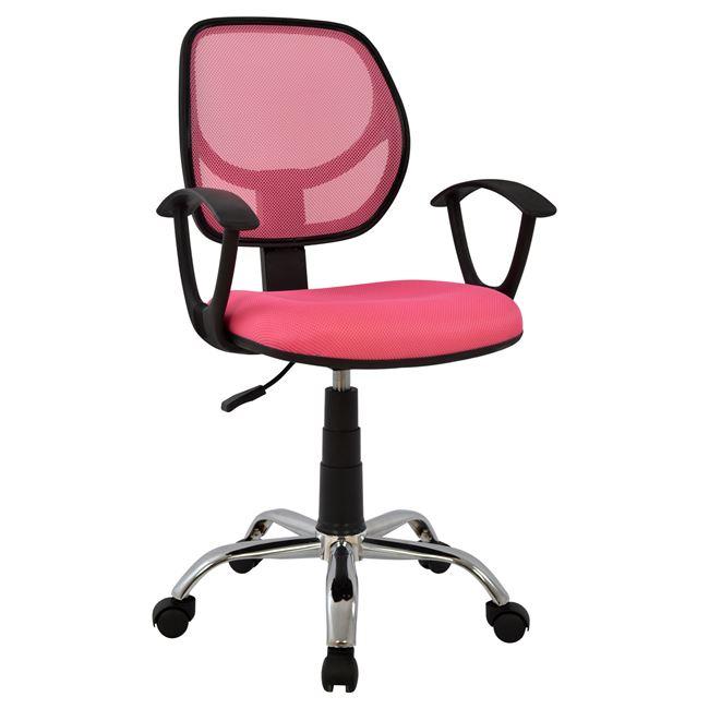 Πολυθρόνα γραφείου από ύφασμα mesh/μέταλλο σε χρώμα ροζ/μαύρο 56×53,5×100