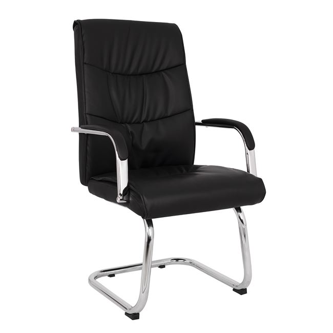 Πολυθρόνα επισκέπτη από PU σε χρώμα μαύρο 57×66,5×102