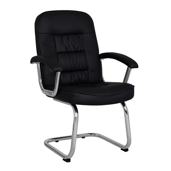Πολυθρόνα επισκέπτη από PU σε χρώμα μαύρο 64x66x99