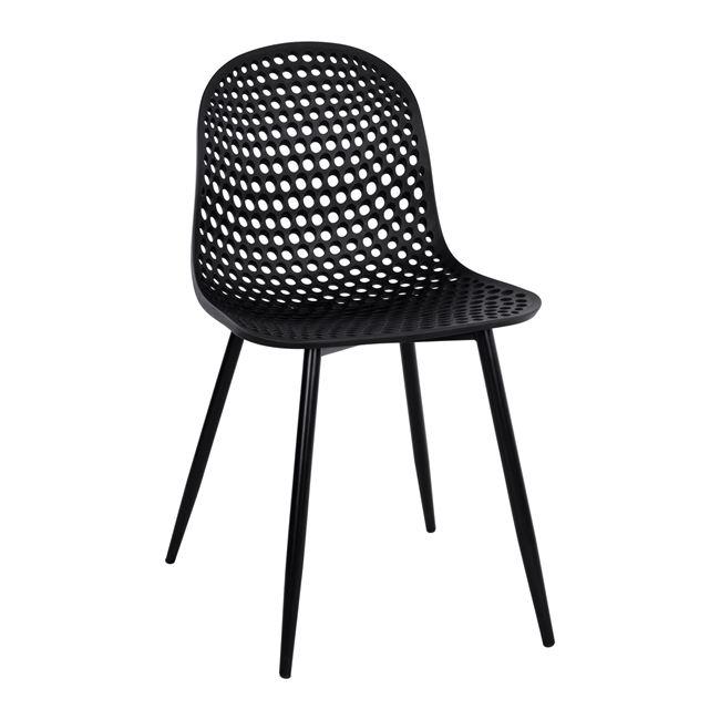 """Καρέκλα """"MILANA"""" από PP/μέταλλο σε χρώμα μαύρο 45x51x84"""
