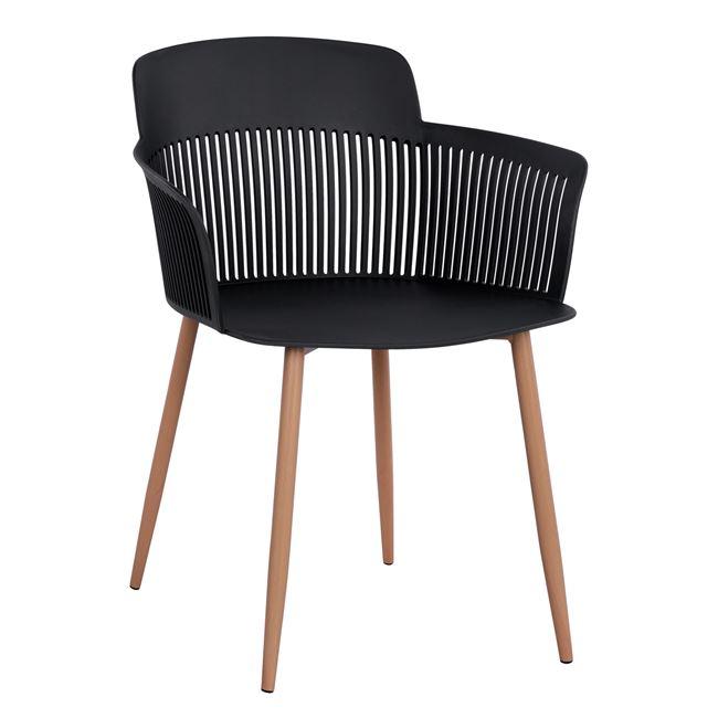 """Πολυθρόνα """"NENA"""" από PP/μέταλλο σε χρώμα μαύρο/φυσικό 61x52x80"""