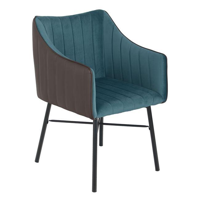 """Πολυθρόνα """"ALLYSA"""" από ύφασμα βελούδο/PU σε χρώμα μπλε/γκρι 57x58x88"""