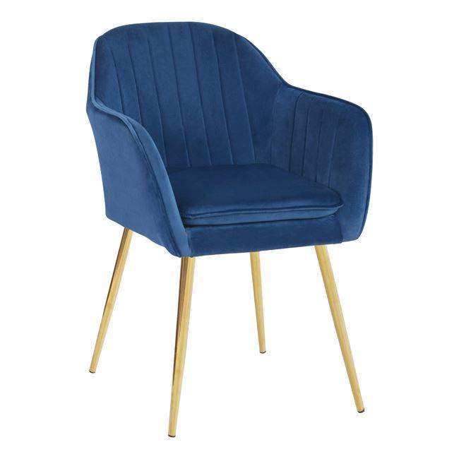 """Πολυθρόνα """"SAWYER"""" από ύφασμα βελούδο/μέταλλο σε χρώμα μπλε/χρυσό 54x53x78"""