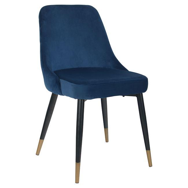 """Καρέκλα """"SERENTIY"""" από ύφασμα βελούδο/μέταλλο σε χρώμα μπλε/μαύρο 51x58x83"""