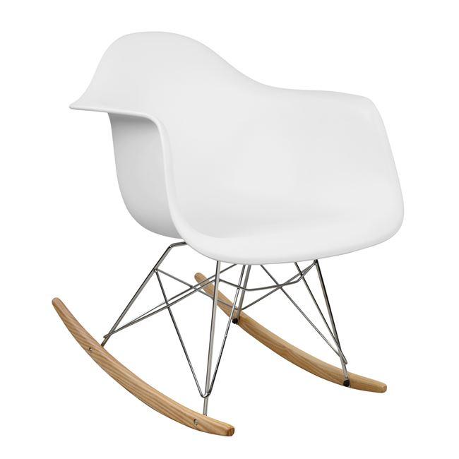 """Πολυθρόνα κουνιστή """"MIRTO"""" από PP σε χρώμα λευκό/φυσικό 62x70x70"""