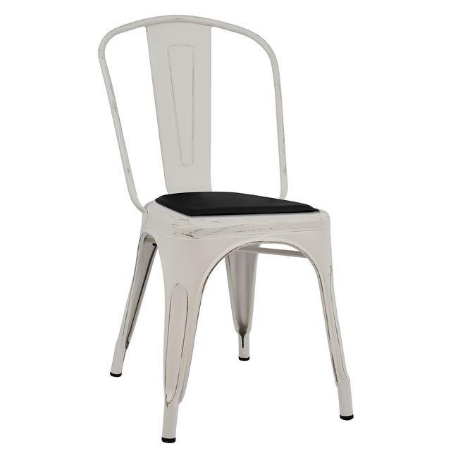 """Καρέκλα """"MELITA"""" μεταλλική/PU σε χρώμα λευκό/μαύρο 45x47x85"""