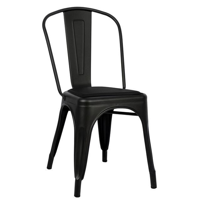 Καρέκλα «MELITA» μεταλλική/PU σε χρώμα μαύρο ματ 45x47x85
