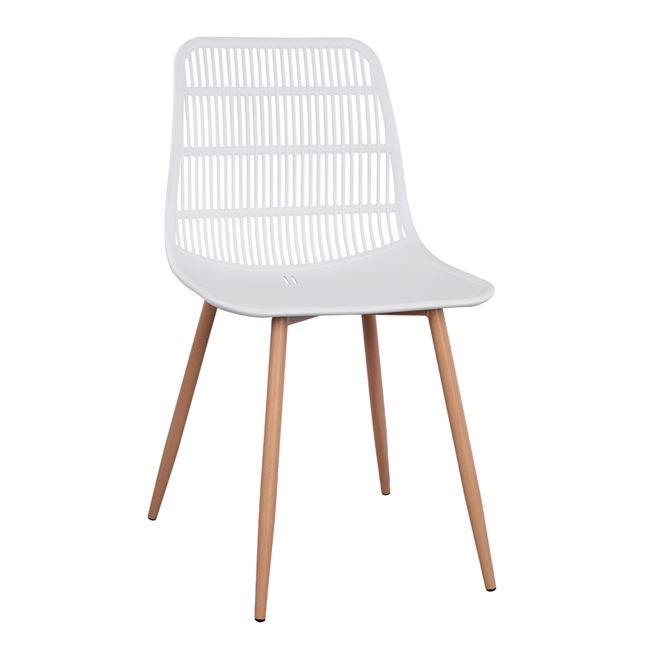 """Καρέκλα """"GIOSSETA"""" από PP/μέταλλο σε χρώμα λευκό 46x51x84"""