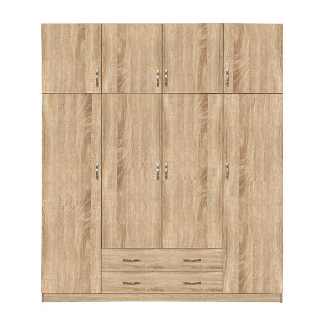 Ντουλάπα τετράφυλλη με πατάρι σε χρώμα σονόμα 200×55,5×240