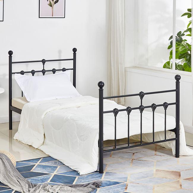 Κρεβάτι μεταλλικό μονό σε χρώμα μαύρο 95x200x105