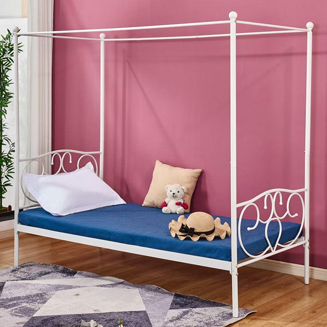Κρεβάτι μονό μεταλλικό με ουρανό σε χρώμα λευκό 95x200x180