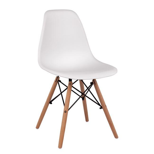 """Καρέκλα """"TWIST"""" από PP/ξύλο σε χρώμα λευκό 46x50x82"""